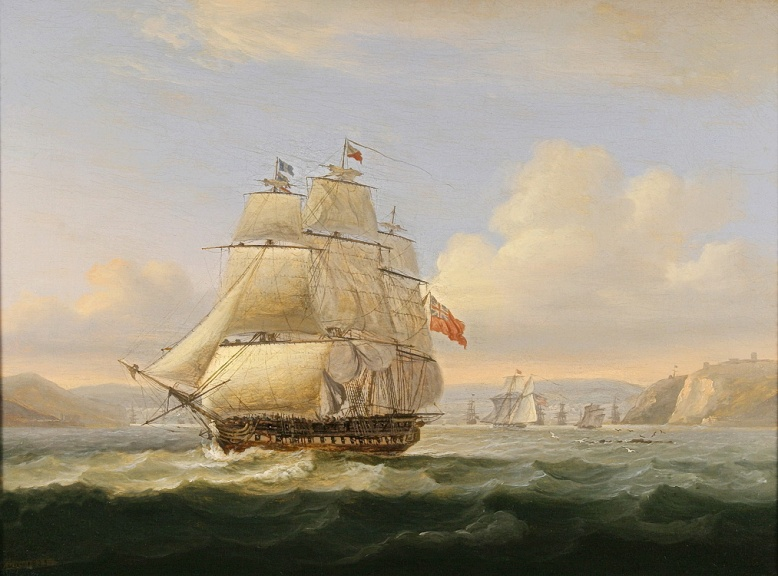 HMS Shannon leaving Halifax Harbour [Canada] 1823 by Thomas Luny